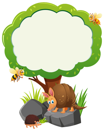 Border template with many animals under tree illustration