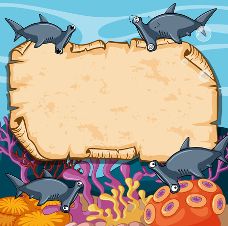 pez martillo: Banner template with hammerhead sharks illustration