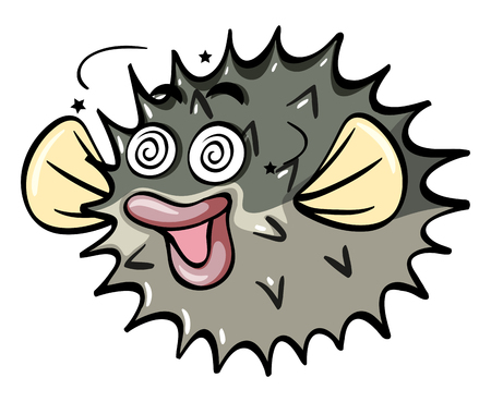 Pufferfish with dizzy face illustration