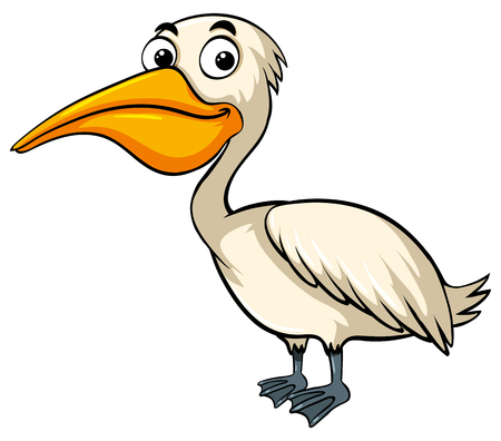 Pelican with happy face illustration