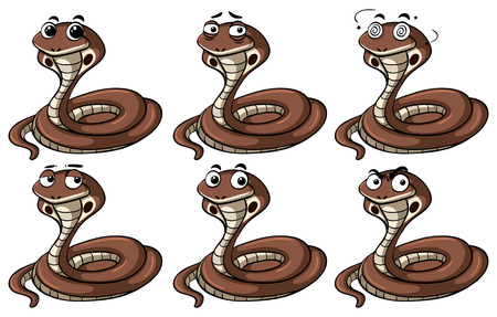 Cobra snakes with different emotions illustration