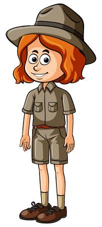ranger: Woman in safari outfit illustration