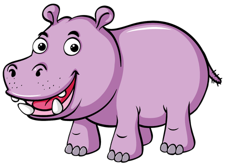 Cute hippo smiles on white background illustration Иллюстрация