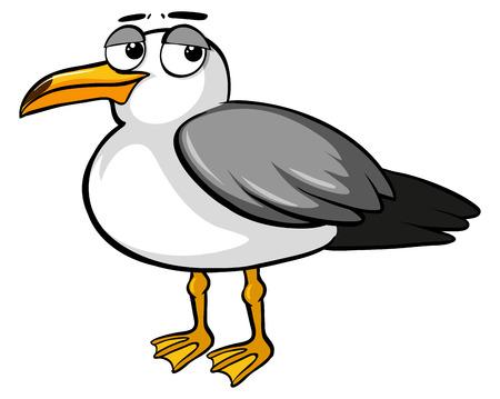 Sad pigeon on white background illustration Illustration
