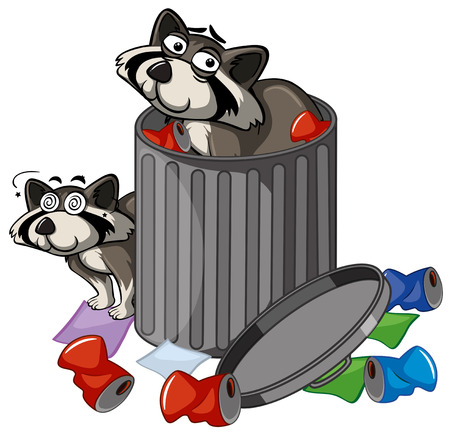 Two racoons in trashcan illustration Illustration