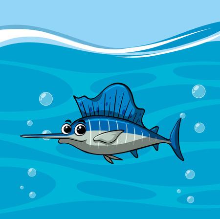 Swordfish swims in the ocean illustration Illustration