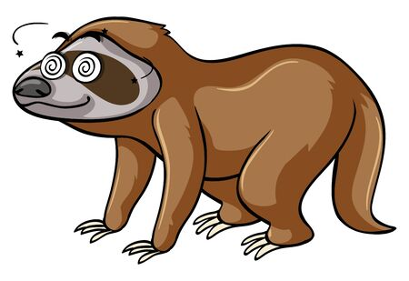 oso perezoso: Perezoso con ojos vertiginosos ilustración