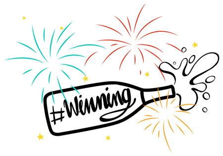 Expression for phrase winning with champagne bottle illustration