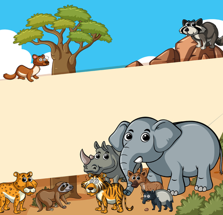 Paper template with wild animals in the field illustration