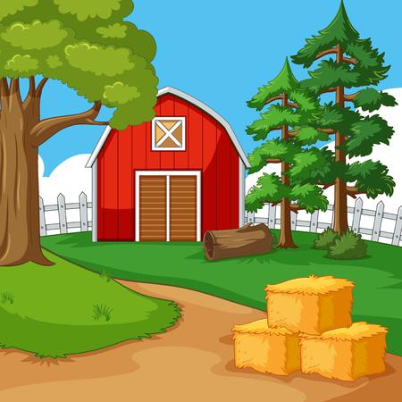 Red barn in the farmyard illustration