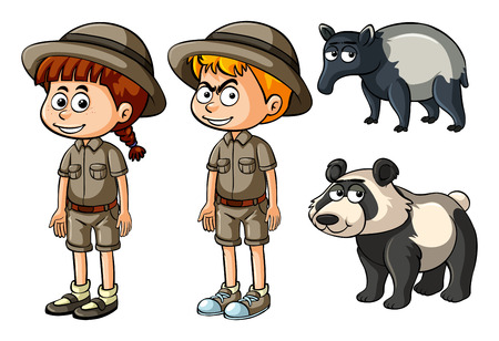 Boy and girl in safari clothes with panda and tapir illustration