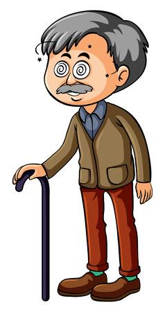 Alter Mann mit schwindliger Augenillustration