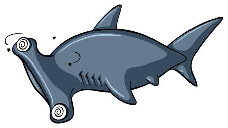 Hammerhead shark with dizzy face illustration