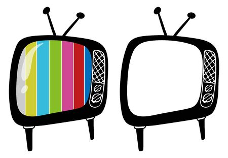 Doodle objects for televisions illustration