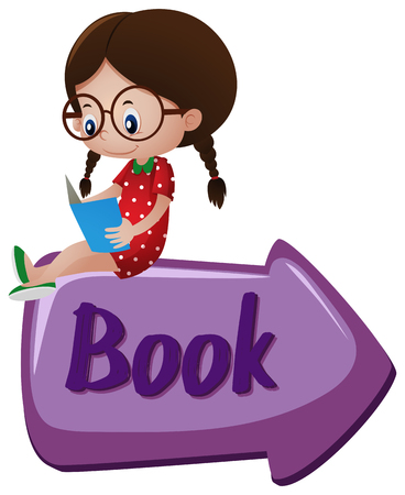 Book sign with girl reading book on top illustration