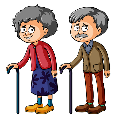 Grandmother and grandfather with walkingstick illustration