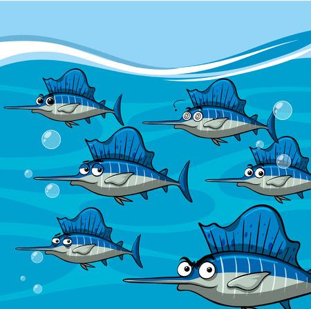 Many swordfish under the ocean illustration Illustration