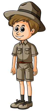 Man in safari outfit with happy face illustration
