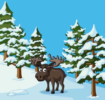 Moose stands in snow field illustration