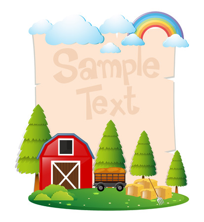 Paper template with red barn and hay illustration Illustration