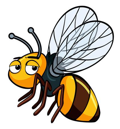 Schläfrige Biene auf weißer Hintergrundillustration