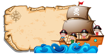 Paper template with children on pirate ship illustration Ilustração