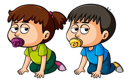 Fille et garçon bambin rampant illustration
