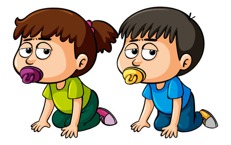 Girl and boy toddler crawling illustration