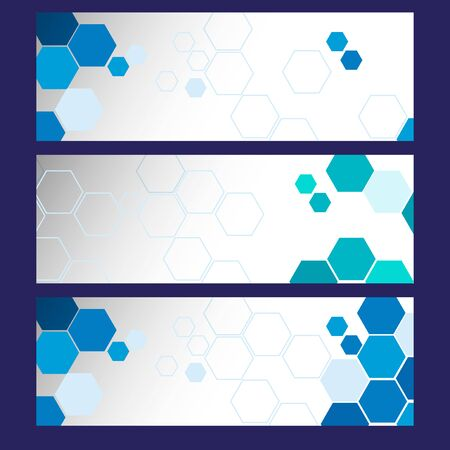 businesscard: Three banner templates with blue hexagons illustration Illustration