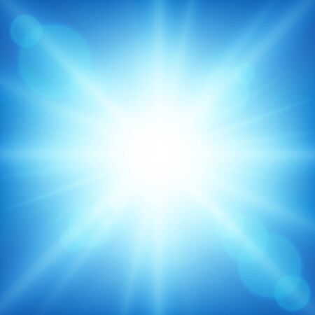 Background design with bright light in blue sky illustration