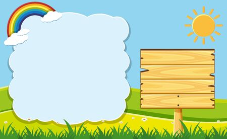 wooden post: Cloud frame and wooden board in garden illustration