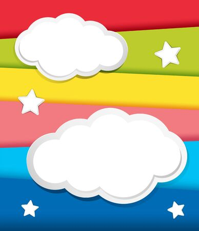 pallette: Background design with clouds and stars illustration