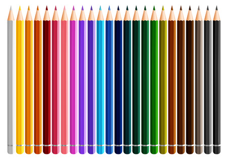 writing instruments: Twenty four color pencils on white background illustration