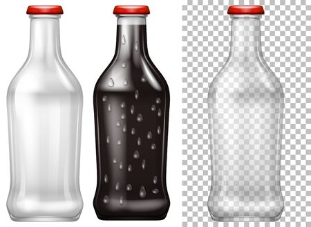 condensation: Glass bottles with and without drink illustration Illustration