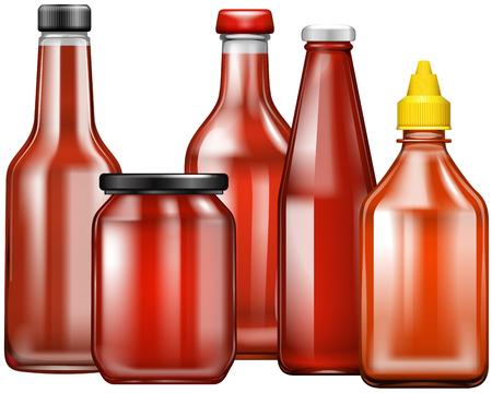 chili sauce: Different design of bottles for sauce illustration