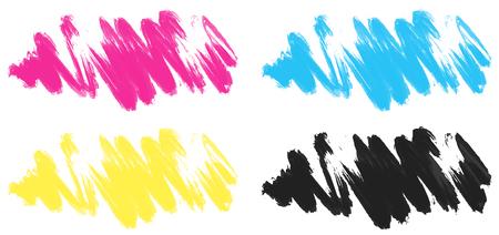 Brushstrokes in four colors illustration