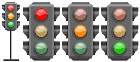 Different colors of traffic lights illustration