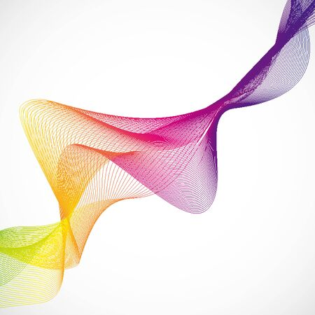 Colorful wavy lines on white background illustration