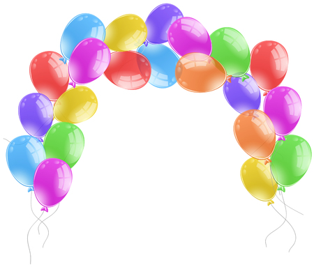 floating: Colorful balloons on white background illustration