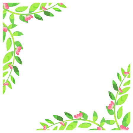 Watercolor background with pink flowers  illustration