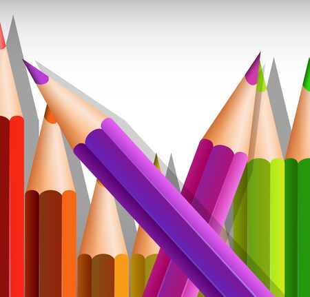 writing instruments: Background template with big color pencils illustration