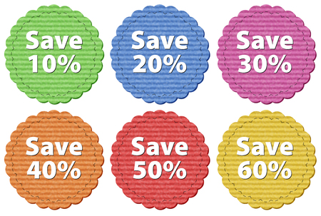 Label templates with different amount of discounts illustration