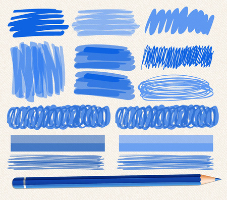 Different brushstrokes of blue ink illustration Illustration