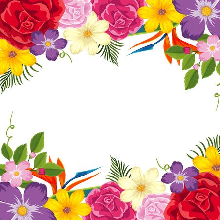 Grenzschablone mit bunter Blumenillustration Vektorgrafik