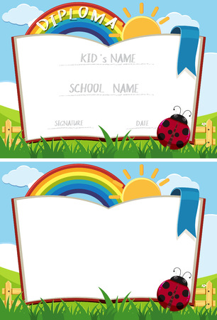 ladybug: Diploma template with book in garden illustration Illustration