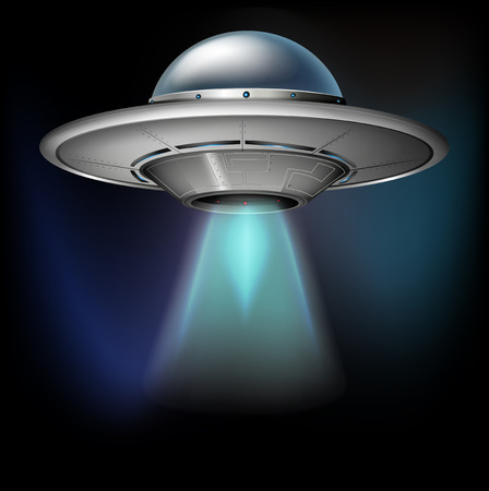 unidentified flying object: Spacecraft flying in dark space illustration