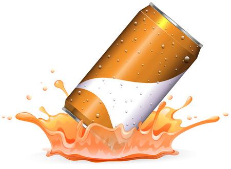 Soda can drops in orangle splash illustration