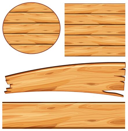 Board design with wooden board in different shapes illustration