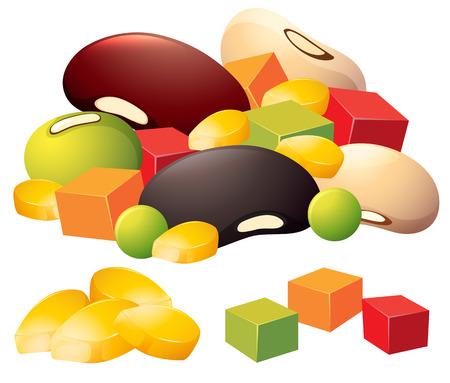 Vegetables and beans set illustration