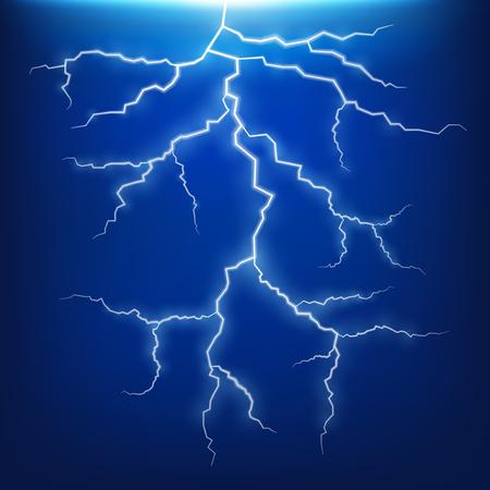 Blue lightning strike effect illustration